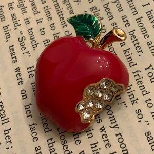 Vintage Red Bitten Apple Rhinestone Gold Brooch